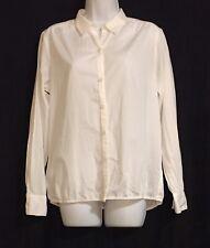 Ann Taylor LOFT White 100% Cotton Button Front Blouse Top Shirt Medium Career
