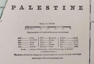"""Vintage 1900 PALESTINE Map 11""""x14"""" ~ Old Antique Original HOLY LAND JERUSALEM"""