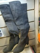Marc Fisher Faux Suede Over-the-Knee Boots - Loran Dark Gray Womens 9 W Wide