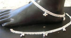 HANDMADE PURE SILVER ANKLET PAIR INDIAN PAYAL 22.9 GRAM 9.5''  FREE SHIP AS 11