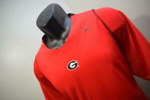 Nike Gym Shirt Dri Fit UGA Georgia Bulldogs Red Short Sleeve Mens Size XL
