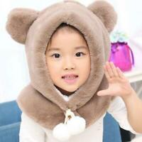1 Set *Kids Girl Boys Hooded Hat Scarf Plush Snood Thicken Wind-proof Winter