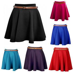 1s Womens Belted skirt Ladies Plain Belted Flared Short Mini Skater Swing 8-14