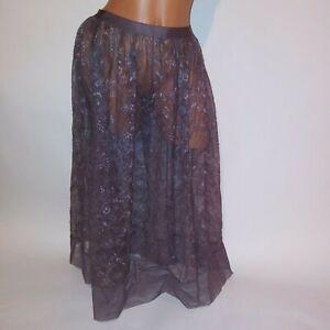 Victoria Secret Lingerie Skirt Slip Black Purple Lace