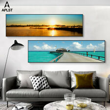 Large Wall Art HD Canvas Prints Paintings Sunset Ocean Beach Seascape Posters