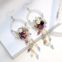 Women Elegant Crystal Flower Tassel Ear Hook Long Dangle Drop Fringed Earrings