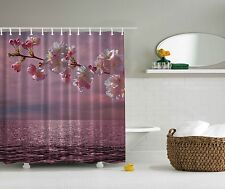 Tropical Beach Ocean Pink Flowers Fabric Shower Curtain Digital Art Bathroom