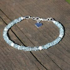Natural Sky Blue Topaz Bracelet Sterling Silver 925 , 4th Anniversary , December