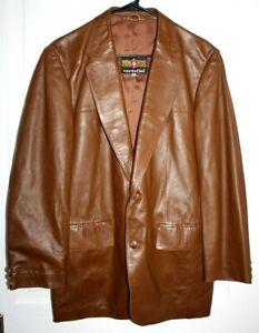CORTEFIEL Made Spain Leather Jacket Coat Men's 42 / L Brown