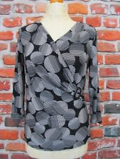 Country Casuals CC NWT faux wrap top UK S 10/12 black white RRP £55