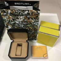 BREITLING Box Watch Case Genuine Bakelite Black authentic Booklet Set GREEN BAG