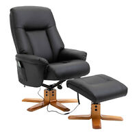 Office Massage Armchair Electric Cushioned Seat Black Faux Leather w/ Footrest