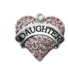 DAUGHTER Pink Rhinestone Heart Silver Traditional Charm or Pendant