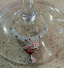 Wine Gin Cocktail Glass Charm Silver plated Stocking filler Red Cocktail Charm