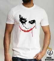 THE JOKER Bloody Smile T-shirt Batman Villain Halloween Scary Face Gift Tee Top