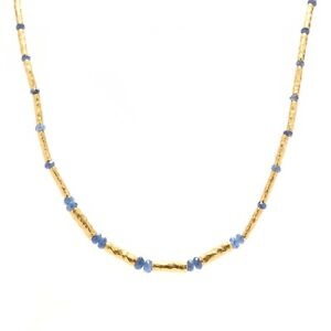 Handmade 24K Yellow Gold & Sapphire Bead Necklace