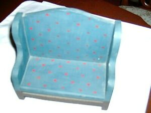 """BLUE PRIMATIVE WOOD DECORATOR BENCH 7"""" WIDE X 6"""" TALL GREAT CONDITION"""