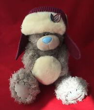 "ME TO YOU BEAR TATTY TEDDY 12"" PURPLE TRAPPER HAT & SNOWBALL WINTER BEAR GIFT"