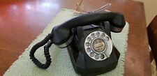 Vintage WORKING Bakelite Rotary Telephone Black and Silver