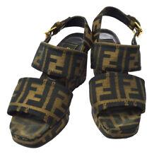 FENDI Zucca Pattern Sandals Shoes Brown Black Canvas Vintage Authentic AK31555d