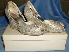 IVORY & SILVER SATIN DIAMANTE ENCRUSTED EVENING PARTY PROM BRIDAL SHOES UK 3.5