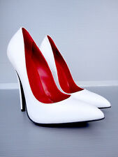 CQ COUTURE EXTREME HIGHEST HEELS PUMPS SCHUHE DECOLTE LEATHER WHITE BIANCO 38