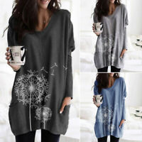 Women Printed Floral Top Tee T Shirt Loose Pullover Long Sleeve Tunic Blouse NEW