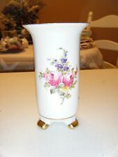 WHITE VASE WITH PINK YELLOW PURPLE FLOWERS GOLD LEGS AND RIM 6 INCHES HIGH