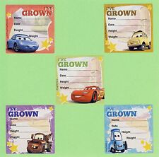 10 Disney Cars I've Grown - Height and Weight - Large Stickers - Party Favors