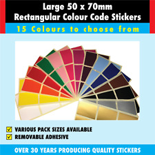 Large 50 x 70mm Rectangular - Colour Coded Stickers / Sticky Labels
