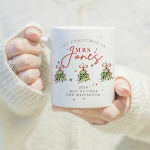 Personalised First Christmas as Mrs Mug/Cup Coffee Gift Surname Xmas Present