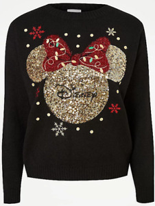 Christmas Jumper Ladies Disney Minnie Mouse Black Sequin George Sweater Eve Day