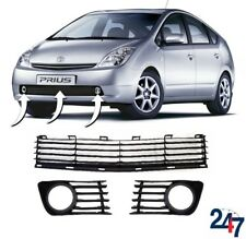 NEW TOYOTA PRIUS 2004 - 2009 FRONT BUMPER LOWER GRILLE AND FOG LIGHT GRILLS SET