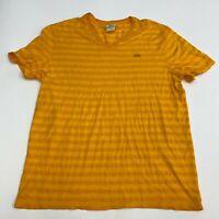 Lacoste T Shirt Men's Size 7 Short Sleeve Orange Striped V Neck Logo Embroidered