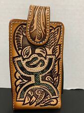 Cowboy/cowgirl Hand Tooled Leather With Camo Belt Phone Case - Western