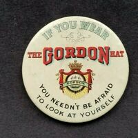 Old Advertising Celluloid Mirror GORDON HATS If You Wear Needn't Be Afraid Look