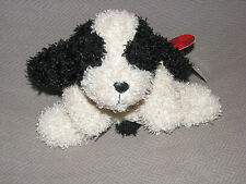 RUSS SCRUFFY STUFFED PLUSH PUPPY DOG CREAM IVORY BLACK BEAN BAG PLAID RIBBON BOW
