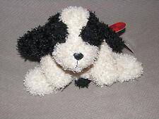 RUSS SCRUFFY STUFFED PLUSH PUPPY DOG CREAM IVORY BLACK BEAN BAG PLAID RIBBON BOW