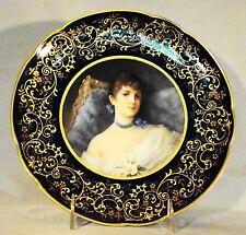 """Elegant Fine Porcelain Hand Painted Cobalt & Gilt Portrait Cabinet Plate 9"""" dia"""