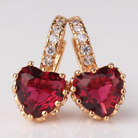 REAL 18CT Gold filled Ruby Red Heart Earrings for Mum Sister Birthday Gift