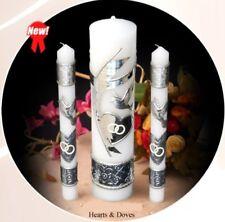 Unity Candle Set Wedding Hearts Doves Vela de Union Plata Bougie d'unite Union
