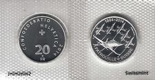 """SWITZERLAND 20 FRANCS 2014 """"50 years of Patrouille Suisse"""" SILVER UNCIRCULATED"""