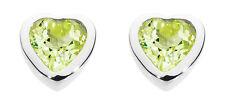 Dew 925 Sterling Silver Birthstone 6mm Heart Stud Earrings - August Peridot