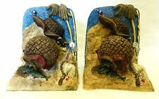 Fly Fishing Bookends Blue Tan Fish Net Hat Basket Desk Book Ends Collectible