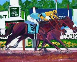 Belmont Stakes Horse Racing Original Art PAINTING DAN BYL Contemporary 4x5 feet