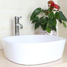 Bathroom Ceramic Vessel Sink Vanity Porcelain Basin Faucet Combo Drain White