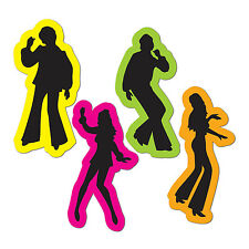 70's DISCO DANCERS NEON Silhouettes Cutouts Birthday Party Dance Decorations