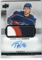 2017-18 UD Premier PIERRE-LUC DUBOIS Rookie AUTO PATCH Blue Jacket LOGO #73/199