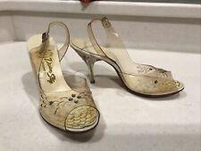 Vtg Clear Plastic Slingback Lucite & Rhinestone Heels Dream Step Originals Shoes