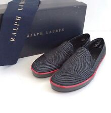 RALPH LAUREN COLLECTION Black Woven STRAW Espadrille Slip-On Shoes 10D EU-43